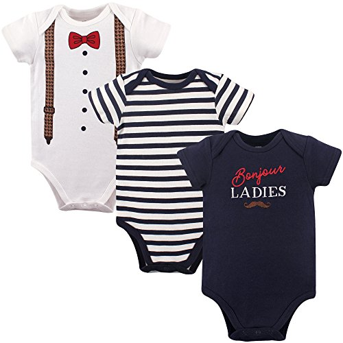 Hudson Baby Bodysuits, 3 Pack, Bounjour, 6-9 Months