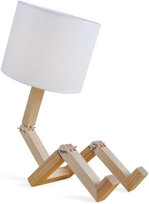 Lámpara Mesa de Madera Creativo Robot Mesita de Noche Luz de ...