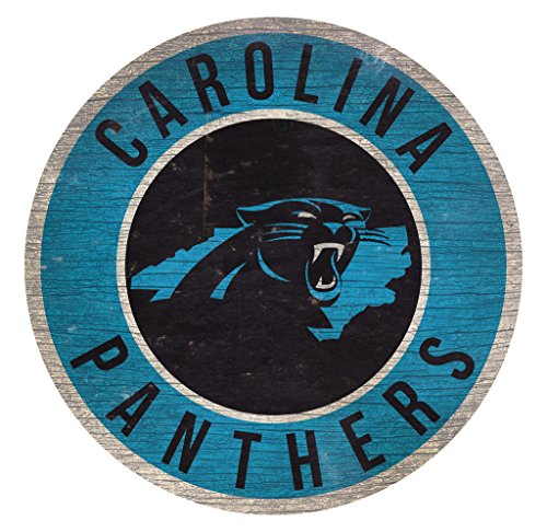 Carolina Panthers Wood Sign 12 Inch Round State Design