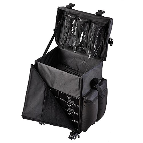 Triprel Inc Professional Pro Oxford Cloth Rolling Makeup Bag Organizer Travel Cosmetic Case w/Shoulder Strap - Black by Triprel Inc