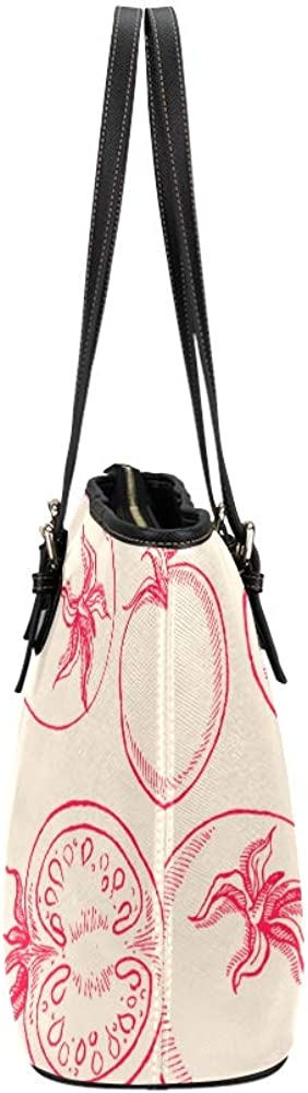 Shoulder Bag For Women Red Sour Sweet Vegetable Tomato Leather Hand Totes Bag Causal Handbags Zipped Shoulder Organizer For Lady Girls Womens Shoulder Bag For Men
