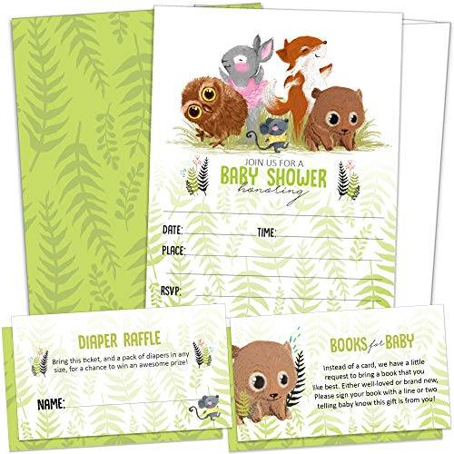 25 Woodland Baby Shower Invitations for Girl or Boy Plus Diaper Raffle Tickets & Books for Baby Request Cards with Envelopes - Invites by -