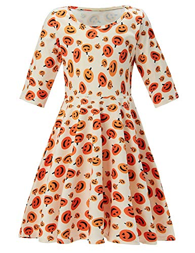 Price comparison product image Funnycokid 3 / 4 Sleeves Halloween Pumpkin Dresses Twirly Girl Dress Size 4