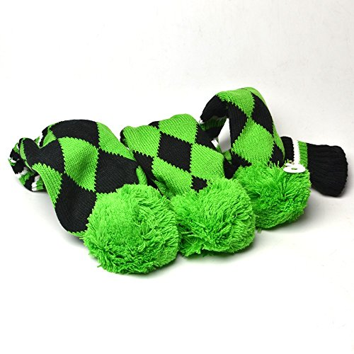 (GOOACTION Drivers, Fairway Woods, Hybrids 3pcs Green and Black Checkered Pattern Pom Pom Sock Set Vintange Knit Universal Golf Head Covers Fit for All Golf Brands)