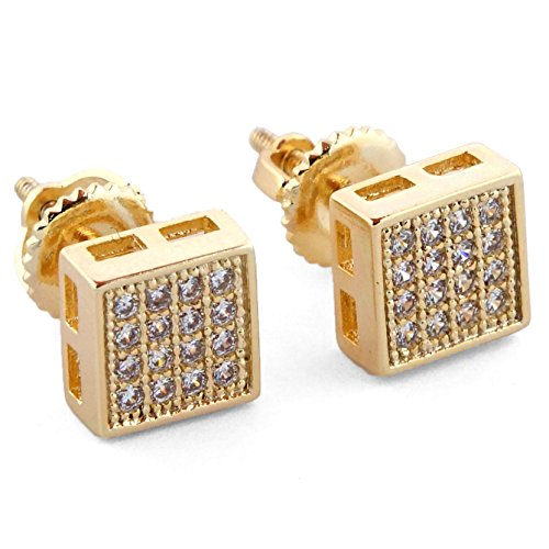 16k Gold Plated Iced Out Square Micro Pave Screw Back 4 Line (Micro Pave Earrings)