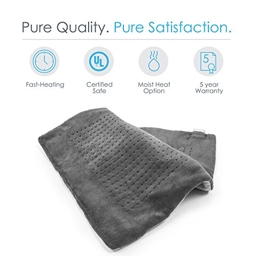 Pure Enrichment PureRelief XXL Ultra-Wide Microplush Heating Pad with Fast-Heating Technology, Moist Heat Therapy, 6 Temperature Settings, Auto-Off Timer and Convenient Storage Bag (20 x 24)