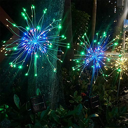 Coohole 120 Solar LED Lawn Lamp Outdoor Waterproof Copper DIY Wire Christmas Firework/Bouquet Shape String Light (Multicolor) ()