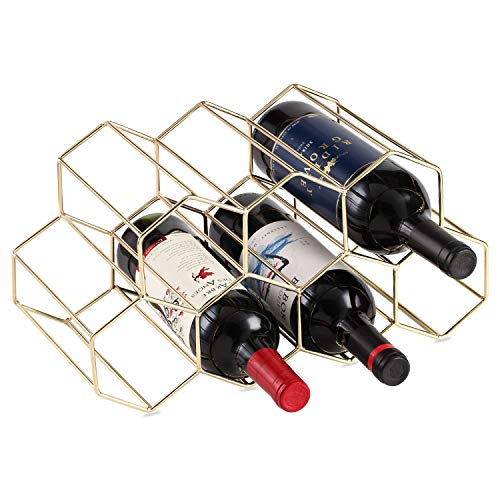 Buruis 7 Bottles Metal Wine Rack, Countertop Free-stand Wine Storage Holder, Space Saver Protector for Red & White Wines - Gold (Wine Rack White)