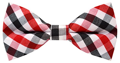 Black And White Gingham Bow (Carahere Handmade Boy's Plaid Bow Ties M016 Red , Black& White)