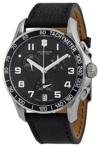 (Victorinox Swiss Army Men's ' Chrono Classic Swiss Quartz Stainless Steel and Leather Casual Watch, Color:Black (Model: 241493)