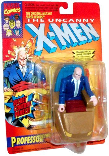 (ToyBiz Year 1993 Marvel Comics The Original Mutant Super Heroes Series The Uncanny X-Men 4-1/2 Inch Tall Action Figure - Professor X (Xavier) with Hover Unit and Flip Up Computer Panels Plus Bonus Official Marvel Universe Trading Card)