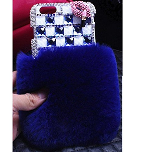 KAKA(TM Phone Case for iPod, iPod Touch 6 3D Rhinestone Crystal Cover with Bling Lip & Lipstick Pattern Soft Warm Fur (Blue)