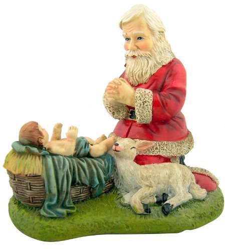 Nativity Lamb (Kneeling Santa with Lamb Nativity of Christ Figurine Christmas Statue)