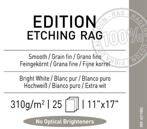Edition Etching Rag - Legion Canson Infinity Digital Paper, Etching Rag 310G, 11 X 17 inches, 25 Sheets (F11-EER310111725)