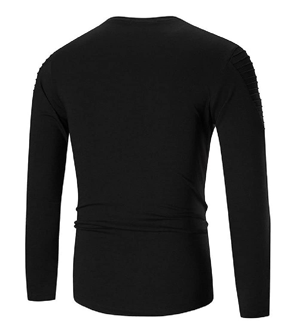Honey GD Mens Solid-Colored Long-Sleeve Casual T-Shirt Top