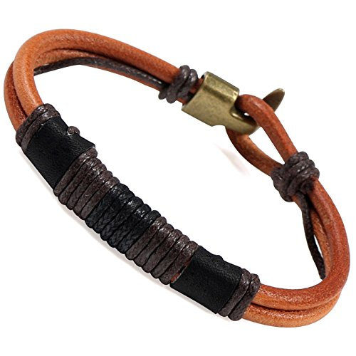 Areke Mens Handmade Rope Braided Leather Bracelets Bangle Wrap for Womens Boys Girls Color ()