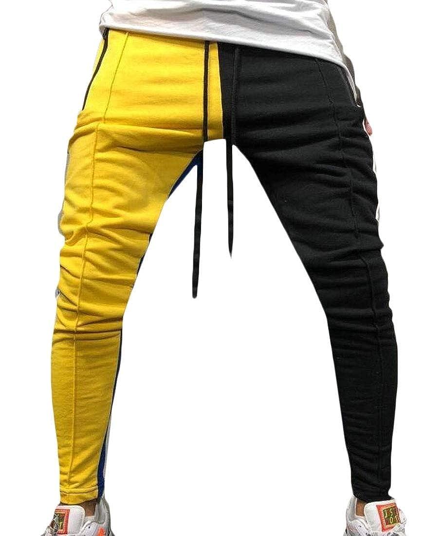 WSPLYSPJY Men Active Pants Color Block Patchwork Jogging Pant Hip Hop Trousers