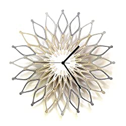 Fireworks III - 16 / 23½ Large Size Wooden Wall Clock in Shades of Silver
