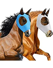 2 Pieces Horse Fly Mask Horse Mask with Ears Smooth and Elasticity Fly Mask with UV Protection