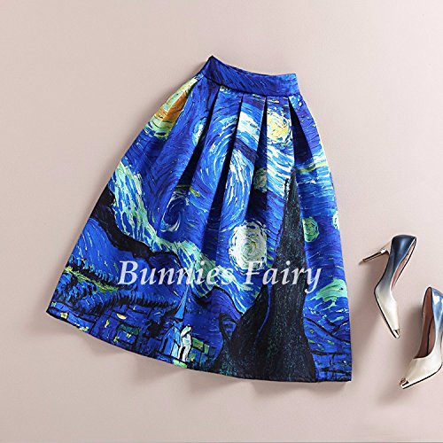 Chakit* BunniesFairy New 50s Vintage Van Gogh Starry Sky Oil Painting 3D Digital Print High Waist Skirt Rockabilly Tutu Retro Puff Skirt (Size XL)