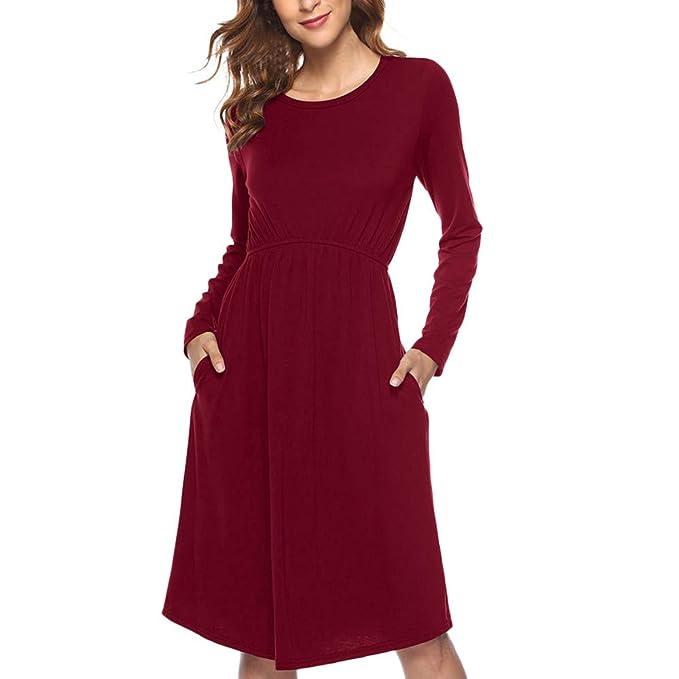 Vestido de Mujeres,Lenfesh Camisa Larga Vestido de Mujeres con Bolsillo Manga Larga Vestido Corto