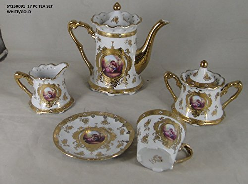 - Limoges Style 17 pieces Romance (Romeo & Juliet) Design Tea Set in White & Gold Floral Design Gift Boxed, Service for 6 Person, by Ashley Gifts