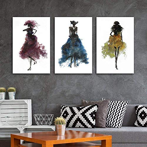 Fashion Ladies Woman Concept Watercolor Painting Style Minimalism Art Reproduction x 3 Panels