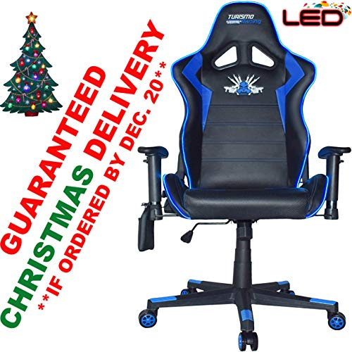 Turismo Racing 2020 Series Blue LED Gaming Chair Big and Tall - Black and Blue - Seat has Dual MEMORYFOAM System for Optimum Comfort in Gaming for Big Guys Uncategorized