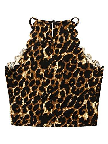 MAKEMECHIC Women's Solid Halter Neck Cami Scallop Trim Workout Crop Top 1-Leopard M ()