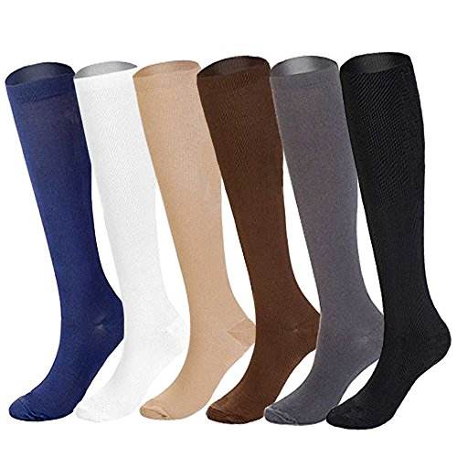 6 Pairs of Upgraded Knee High Graduated Compression Socks For Women and Men 15 20mmHg