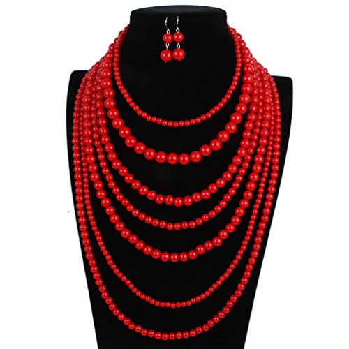 Pearl Necklace Acrylic (omylady Fashion Beaded Statement Strand Necklace Earring Sets Acrylic 7 Strands Multi-Layered Collar Choker for Women (Red))