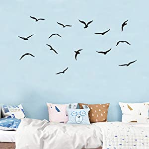 Flock of Birds Flying Wall Decals, Seagulls Bird Wall Stickers, Seabirds Peel and Stick Wall Art Vinyl Removable Mural for Office Window Living Room Porch Door Back Kitchen Bedroom DIY