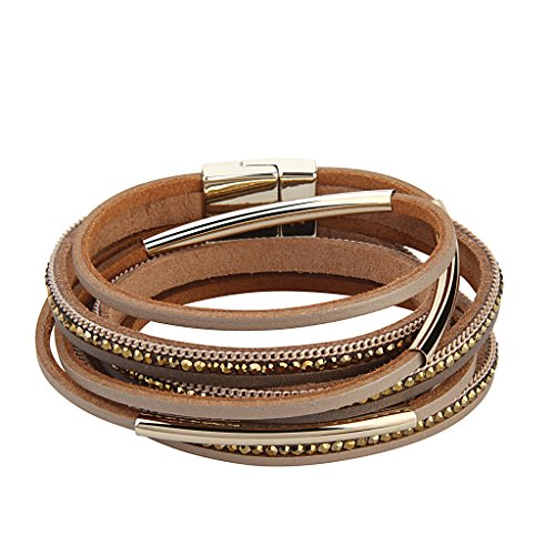 TASBERN Leather and Metal Bracelet for Women - Crystal Tube Wrap Cuff Bangle for Girls by TASBERN