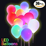 36 Pcs LED Light Up Balloons Premium Quality Lights Party Balloon Mixed Color 12 Inches Latex Balloon Perfect for Parties,Wedding,Ceremony,Halloween,Birthday