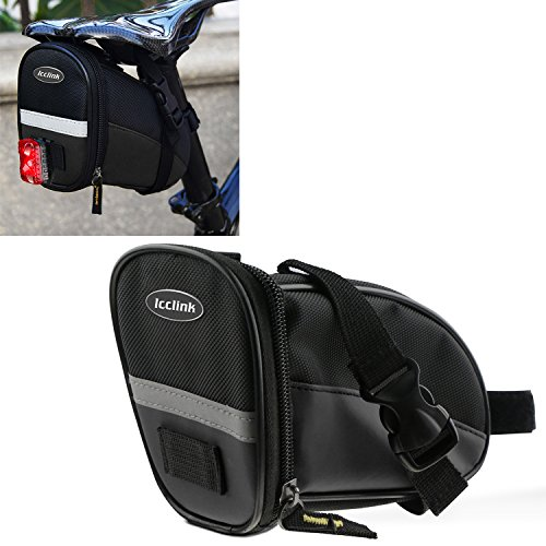 Bicycle Saddle Bag Under Seat Packs, LC-dolida Women Men Bike Pack Handlebar Bags for Outdoor Cycling Strap-On Wedge Bike Basket Black (Ladies Bicycle With Basket)