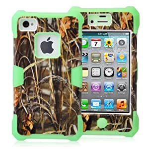 KINGCO For Apple iPhone 4 4S Plastic + Silicone Hybrid Straw Grass Camo Design Glow in the Dark Case Combo Hard Soft Cases Covers Green