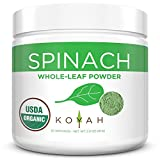 KOYAH - Organic USA Grown Spinach Powder (Equivalent to 30 Cups Fresh): Whole-Leaf Powder, 100% Freeze-Dried