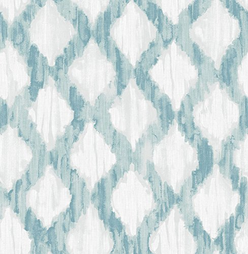 NuWallpaper NU2923 Teal Floating Trellis Peel & Stick Wallpaper,