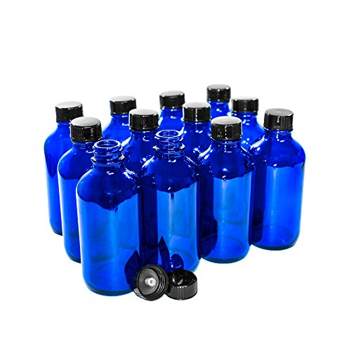 GBO GLASSBOTTLEOUTLET.COM (Pack of 12) 4 oz. Cobalt Blue Boston Round with Black Poly Cone ()