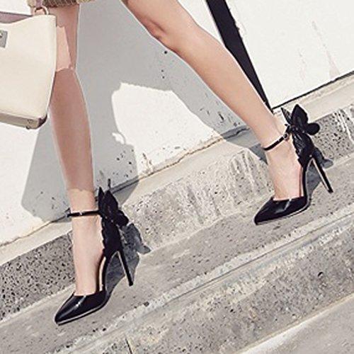 Caviglia Décolleté Stereoscopiche Farfalla A Punta Con Xianshu Corte Pompe Nero Di Stiletto Alla Donna Cinturino Scarpe Tacco Alto qXXUz6S