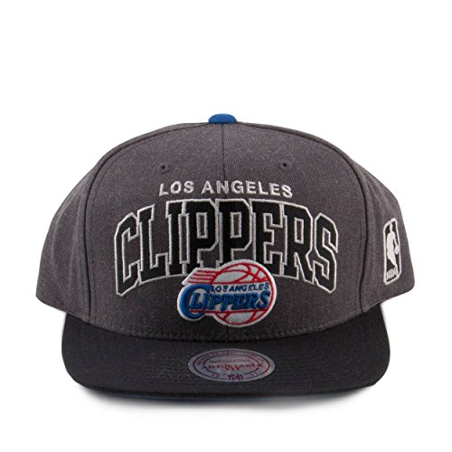 Mitchell & Ness Mens NBA Arch w Logo G2 Snapback Clippers Grey/Black (Arch Logo Cap)