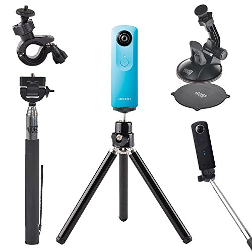 EEEKit Mini Tripod Stand,Selfie Stick Monopod,Bike Handlebar Holder,Car Suction Cup Mount for Ricoh Theta V/S/SC/Insta360 ONE 360 Camera, 4in1 Ttravel Solution Kit