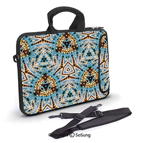 (14 inch Laptop Case,Tribal Stylized Trippy Shapes with Dirt Grungy Paint Reflections Artisan Print Neoprene Laptop Shoulder Bag Sleeve Case with Handle and Carrying & External Side Pocket,for Netbook/)