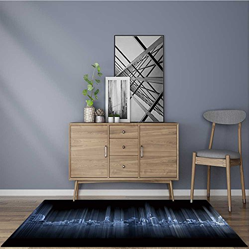 (Traditional rugs blue panoramic city on black background technology city connection Carpet Bathroom Shower Pad 22
