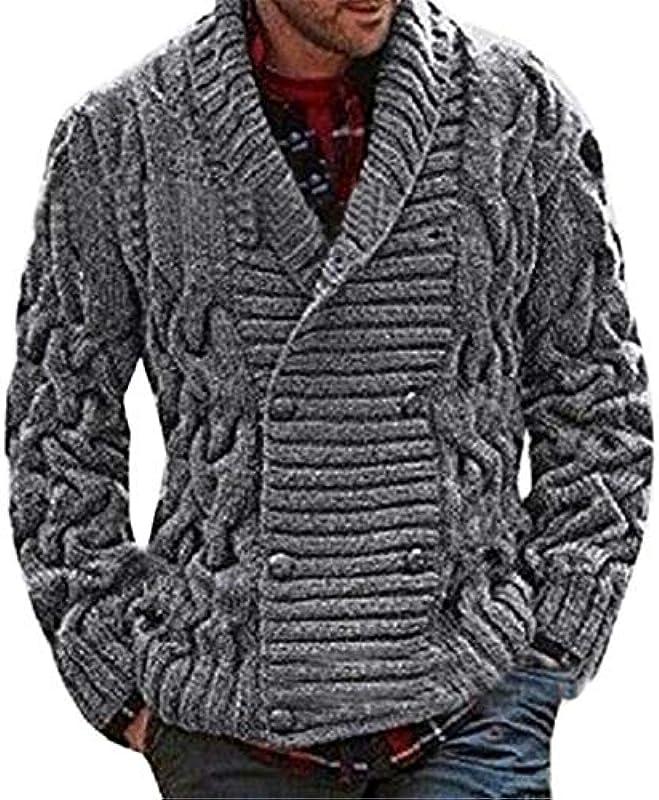 Dishfeilt Cardigan Zweireihiger Strickpullover Verdickungs Cardigan Warm halten Männer Kleidung Lässiger Męskiepullover: Odzież