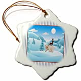 3dRose Beverly Turner Christmas Design - Polar Bear, Deer, and Penguin on top of each other, Winter Scene - 3 inch Snowflake Porcelain Ornament (orn_267951_1)