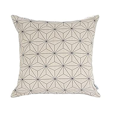 Elviros® Linen Cotton Blend Decorative Scandinavian Modern Geometric Design Zippered Throw Pillow Cover 18x18''