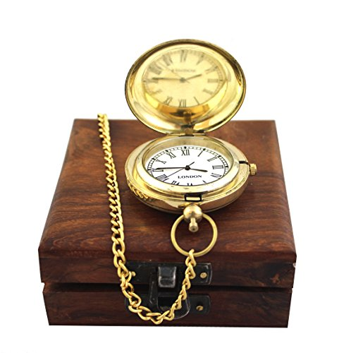Collectibles Buy Antique Anchor Watch Shiny Brass Marine Vintage Pocket Clock with Nautical Wooden Box