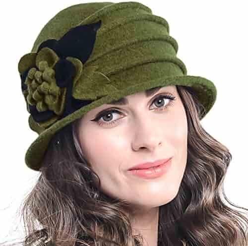 55e2427aadf504 FORBUSITE Vintage Women Wool Blend Cloche Bucket Dress Church Hats Winter  Cap C020
