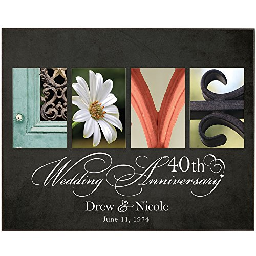 Personalized Parents 40th Wedding Anniversary Gifts Custom Love with Couples names and anniversary date